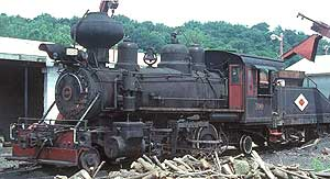Steam locomotive in service next to a wood pile.