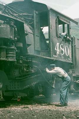 Intensive steam operations are their own kind of genuine preservation--No 480s's grates get a cleaning at Silverton; Erik Ledbetter